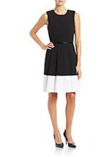 CALVIN KLEIN Bordered Pleated Dress