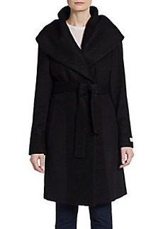 Calvin Klein Bouclé-Trimmed Wool-Blend Wrap Coat