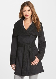 Calvin Klein Bouclé Detail Wool Blend Wrap Coat (Online Only)