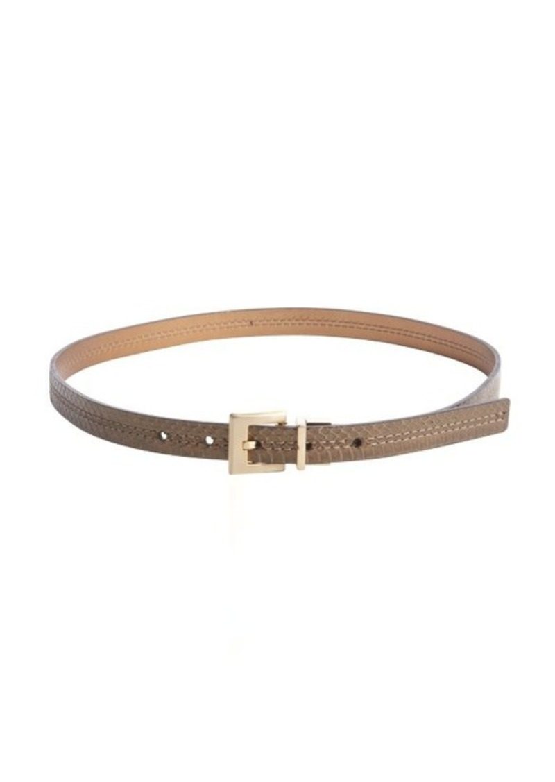 Calvin Klein bronze and snake embossed bronze reversible skinny belt