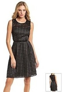 Calvin Klein Burnout Grid Sleeveless Fit & Flare