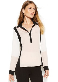 Calvin Klein Button-Front Colorblock Blouse