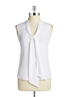 CALVIN KLEIN Button-Front Tie Blouse