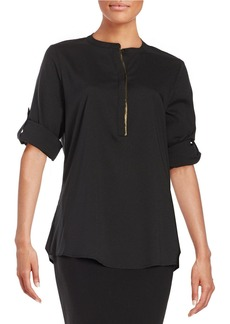 CALVIN KLEIN Button-Tab Sleeved Blouse