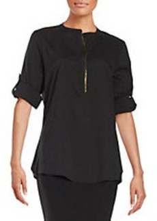 CALVIN KLEIN Button-Tab Sleeved Blouse