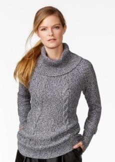 Calvin Klein Marled Cable-Knit Cowl-Neck Sweater