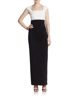 Calvin Klein Cap-Sleeve Colorblock Pintuck Dress