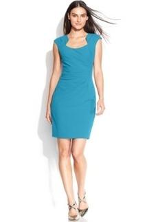 Calvin Klein Cap-Sleeve Cutout-Neckline Sheath