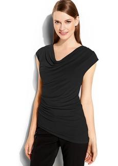 Calvin Klein Cap-Sleeve Draped Top