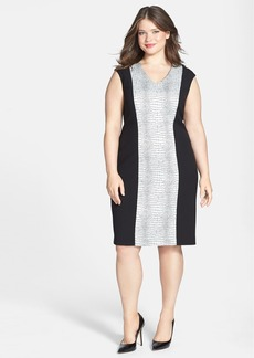 Calvin Klein Cap Sleeve Jacquard Panel Sheath Dress (Plus Size)