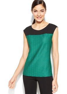Calvin Klein Cap-Sleeve Textured Colorblock Top