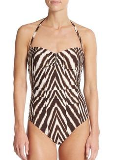 Calvin Klein Chevron-Print Bandeau Maillot Swimsuit