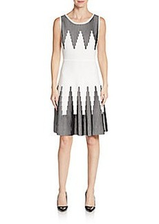 Calvin Klein Chevron Stripe Fit-&-Flare Dress