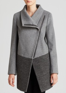 Calvin Klein Coat - Asymmetric Zip Mixed Media