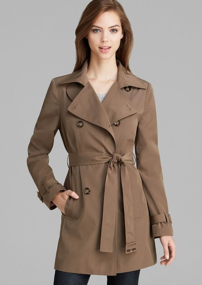 Calvin Klein Coat - Double-Breasted Belted Trench