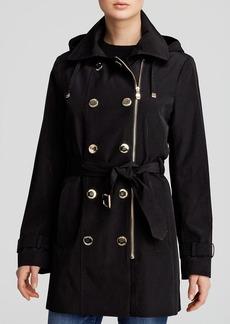 Calvin Klein Coat - Double-Breasted Off-Center Zip Rain