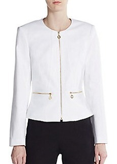 Calvin Klein Collarless Zip-Front Jacket