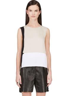 Calvin Klein Collection Beige Stretch Silk Satin Toral Blouse