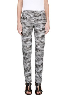 Calvin Klein Collection Black & White Jacquard Brush Slice Tamar Trousers