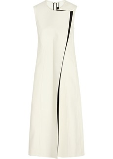 Calvin Klein Collection Rosedale crepe and faux leather midi dress