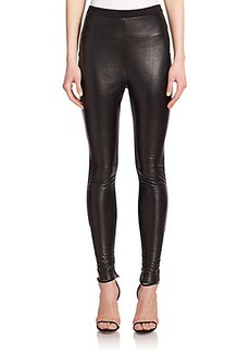 Calvin Klein Collection Teddy Leather & Knit Leggings