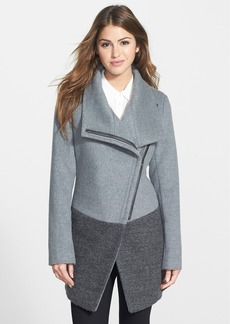 Calvin Klein Colorblock Asymmetrical Zip Wool Blend Coat