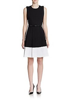 Calvin Klein Colorblock Fit-And-Flare Dress