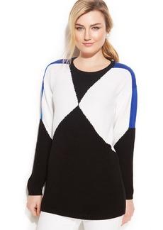 Calvin Klein Colorblock Zip-Detail Sweater