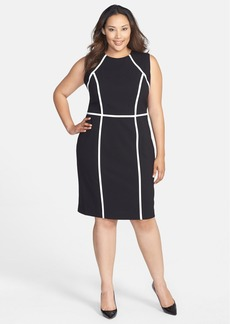Calvin Klein Contrast Detail Sheath Dress (Plus Size)
