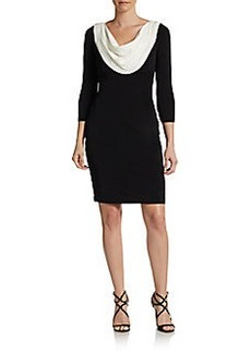 Calvin Klein Contrast-Neck Sheath Dress