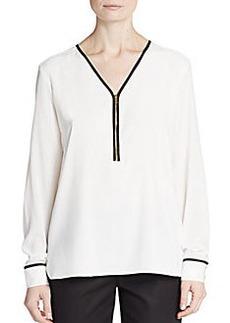 Calvin Klein Contrast-Trim V-Neck Blouse