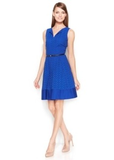 Calvin Klein Cotton Eyelet Belted Dress