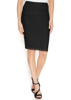 Calvin Klein Cotton Eyelet Pencil Skirt