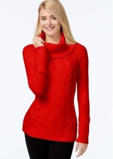 Calvin Klein Cowl-Neck Cable-Knit Sweater