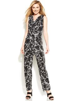 Calvin Klein Cowl-Neck Marble-Print Jumpsuit
