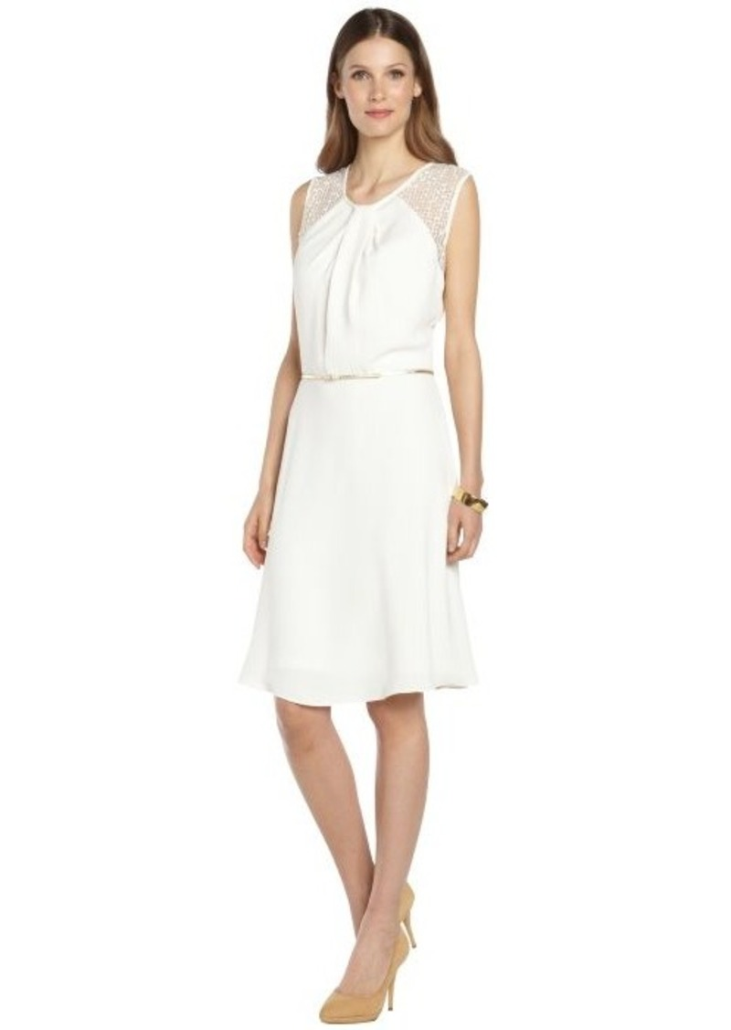 Calvin Klein cream belted lace detail tank dress