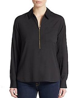 Calvin Klein Crepe Zip-Front Blouse