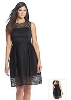 Calvin Klein Crochet Neck Fit And Flare Dress