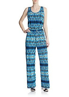 Calvin Klein Diamond-Print Sleeveless Jumpsuit