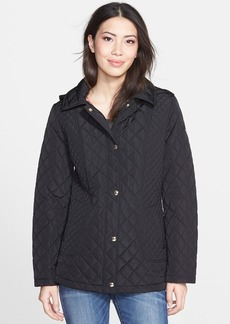 Calvin Klein Diamond Quilted Coat with Detachable Hood