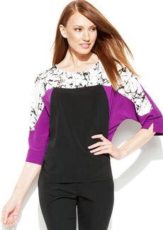 Calvin Klein Dolman-Sleeve Printed Colorblock Top