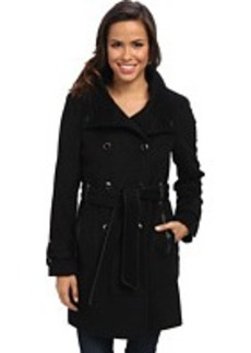 Calvin Klein Double Breasted Belted Convertible Stand Collar Wool Trench Coat CW380770