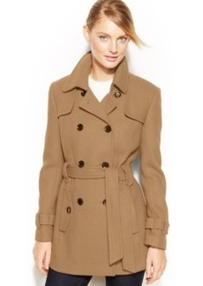 Calvin Klein Double-Breasted Belted Pea Coat
