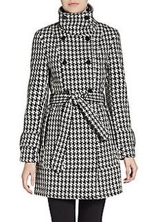 Calvin Klein Double-Breasted Houndstooth Coat