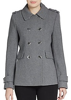 Calvin Klein Double-Breasted Wool-Blend Peacoat