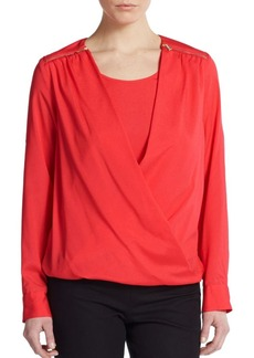 Calvin Klein Draped Roll-Tab Sleeve Blouse