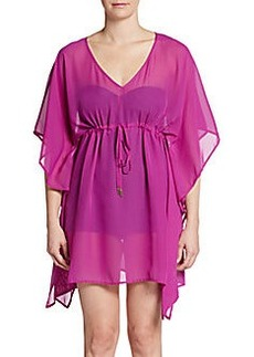 Calvin Klein Drawstring Chiffon Cover-Up Tunic