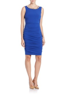 CALVIN KLEIN Embellished and Ruched Sheath Dress