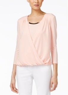 Calvin Klein Embellished Faux-Wrap Top