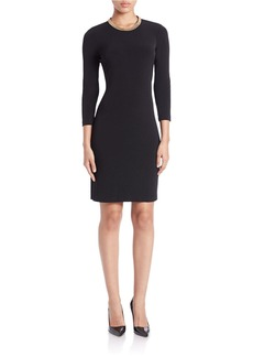 CALVIN KLEIN Embellished-Neck Sheath Dress